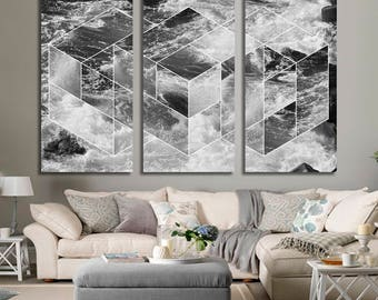 Extra Large Wall Art Nature Canvas Print - Black and White Wild Waves in the Sea Canvas Print, XLarge 5 Panels Wall Art, Housewarming Gift