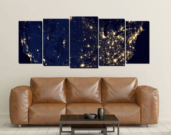USA from Space Canvas Wall Art, United States America View, Nighttime, City Lights, Canvas Print Photo, Large 5 Panel