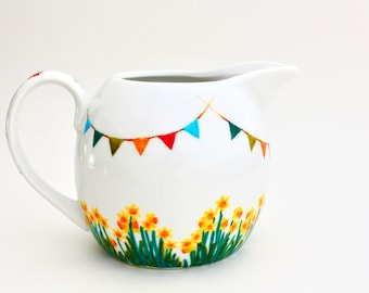 Hand Painted Milk Jug, Colourful Ceramic Creamer, spring garden party, daffodils and bunting tea party for Mother's Day, handpainted kitchen