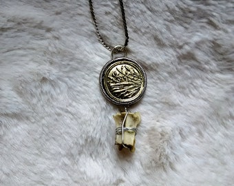 Real Animal Bone Necklace with Gold Cameo