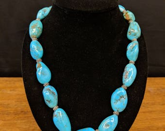 Natural Blue Turquoise Graduated Nugget Beads Necklace