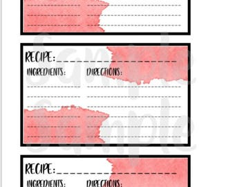 RECIPE CARDS, Recipe Notes, 3x5 Index Card, 3x5 Recipe Card, Recipe Printable