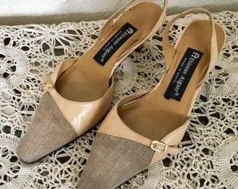 90's Vintage Tan Leather and Linen Slingback Heels