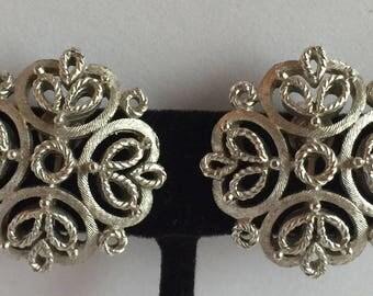 Vintage Trifari Silvertone Filigree Earrings