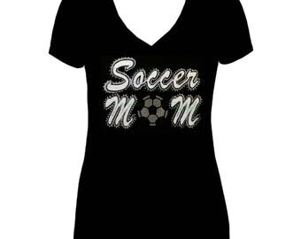 soccer mom  iron on high quality  sequins / embroidered Tshirts