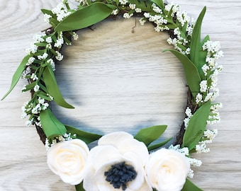 "Mini felt flower wreath 8"""