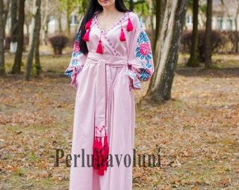 Ethnic Boho Ballet Pink Linen Dress Fancy Ukrainian Vyshyvanka Long Sleeve Embroidered Custom Bohemian Dress Ukrainian Embroidery