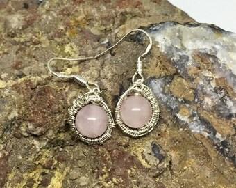 Rose Quartz earrings styled in Sterling Silver