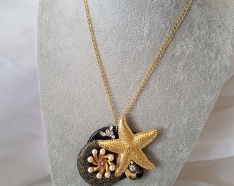 Assemblage Necklace-Starfish W/Pearl Flower #20