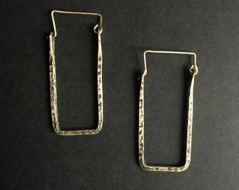 rectangle bronze hoop earrings