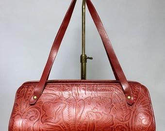 Large RED LEATHER Handbag, Nine West Retro ROCKABILLY Era Purse