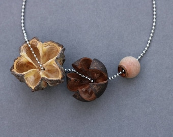 real flower pods stacked on stainless steel ball chain - botanical jewelry - brown organic pendant - nature lover