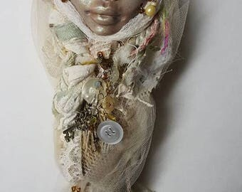Polymer clay, art doll, Bridesmaid gift, Unique whisk doll, Burlap and Lace, Wall Decor, Cottage Decor, Gypsy Bohemian