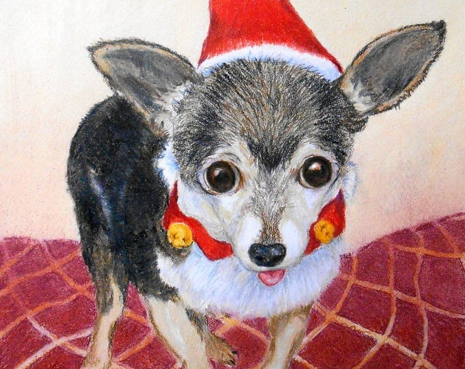 Christmas Card Art, Custom Pet Portrait, Chihuahua or any Breed with JPG file, Custom Pet Portrait, Christmas Dog, Gift Idea, from Photo