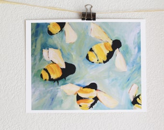 Bees happy bee painting 8x10 art print of original oil painting of bees room decor best seller mat available