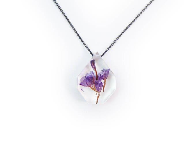 Medium Flower Eco Resin Necklace • Nature Necklace • Resin Pendant • Terrarium Jewelry • Flower Jewelry • Science Jewelry Botanical Jewelry