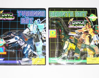 Boley Dino Squad Lot of 2 Unpunched Sealed on Card Bronto Bot Tyranno Bot Vintage 1994