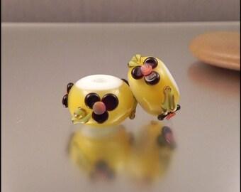 Ginnovations lampwork, Lemon Drop bead pair (2 beads)
