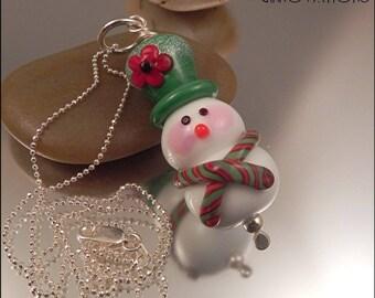 Ginnovations lampwork, Mistletoe Snowman pendant, optional sterling chain upgrade