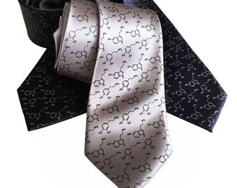 Serotonin & Dopamine Molecule Necktie, Neurotransmitter Happiness Molecules Print Tie. Science gifts for men. Chemical symbol, neuroscience.
