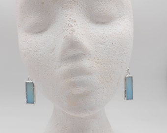 Ombre Blue Stained Glass Earrings simple light weight gradient