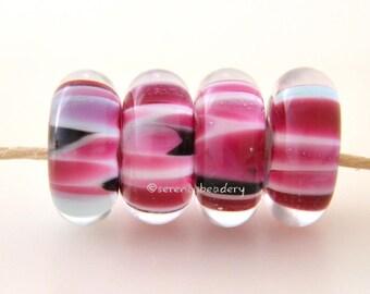 4 tickled pink disks lampwork glass discs lampwork bead set taneres sra