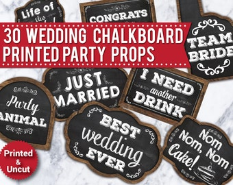 30 Wedding Photo Booth Props,PRINTED & UNCUT, Chalkboard props, Funny photo booth signs, Wood signs, speech bubbles