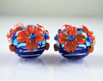 Blue and Orange Flower Lampwork Hollow Pair