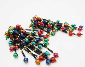 Vintage 80s Statement Earrings Colorful Beaded Black Dangle Clip on Pair Retro 4 Inch Long