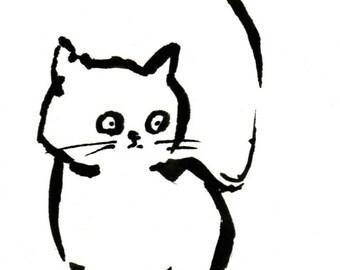 Original Black Cat Gouache Painting ACEO number 167