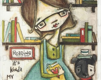 Print of my Original Whimsical Quirky Girl Artl Mixed Media Painting - Reading is My Thing