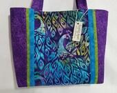 Peacocks on Batik Feathers Spring Summer purse tote bag