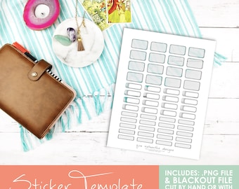 Transparent Sticker Template - Various Boxes - Cut File for Cricut & Silhouette Included! Planner Stickers, ECLP, Filofax, Kikki K