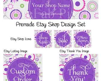 Etsy Shop Banner Set, Shop Banner Set, Circle Etsy Banner, Purple Shop Banner, Retro Etsy Banner, Shop Design Set, Circles, Polka Dot, Dots