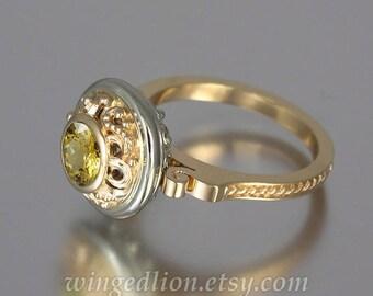 OLGA 14K gold ring with Golden Beryl