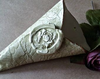 Ceramic Wall Vase wall sconce wall hanging Rose and lace Sage green