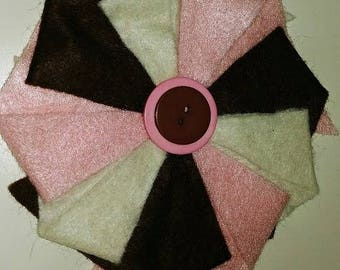 Half Price & Ready to Ship! Colorful Felt Pinwheel Headband in Pink, Brown and White for Women or Children