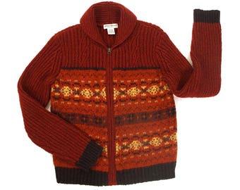 80s Eddie Bauer Cowichan Cardigan Sweater / Vintage 1980s Zip Up Knit Wool Blanket Coat / Rustic Hippie Boho Fair Isle Pattern Women's Small