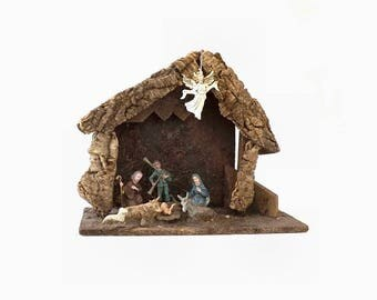Vintage Bark Manger Nativity Creche, Christmas Decoration, Made in Italy