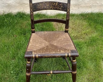 Vintage Stenciled Chair with Rush Seat, Rustic Farmhouse Dining Chair, Kitchen Table Seating