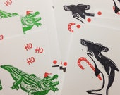 Weird Hand Printed Holiday Cards Santa Gator and Candy Cane Hammerhead