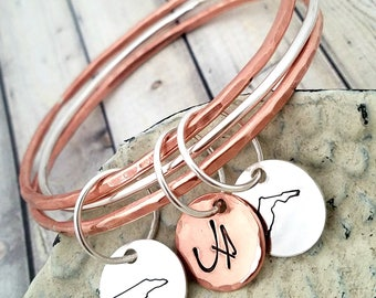 bangles-stacking bangles- personalized stacking bangles-bangles set-personalized bracelet-stacked bracelets