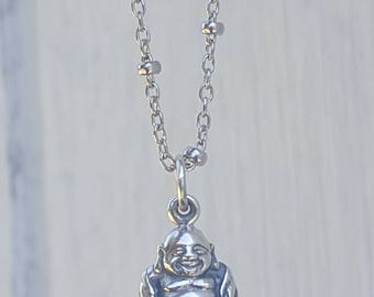 Happy Little Buddha Charm - Laughing Buddha Necklace - Sterling Silver Buddhist