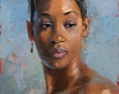 Gold Earings, oil painting 9x12in