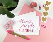 pretty moms are like buttons happy Mother's Day embellished greeting card. vintage button. pink watercolor script type for new mom or wife.