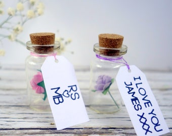 Personalised gift, personalised Valentine gift, anniversary gift, Mother's Day gift, keepsake. Your custom message & paper rose in a bottle