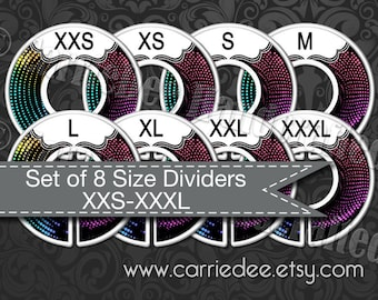 Clothing Size Dividers, Pop-up Boutique Dividers, Dotted Abstract Design, Live Sale Size Cards