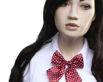 Red Spot Bow Neck Tie - Japan School Girl Style
