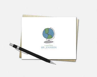 Personalized Globe Note Cards - Personalized Note Cards for Teachers - Stationery for Teachers - Gifts for Teachers - Globe Note Cards