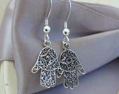 Small Hamsa Hand Filigree earrings  Sterling Silver